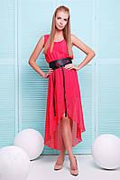Нарядное летнее платье из шифона красного цвета