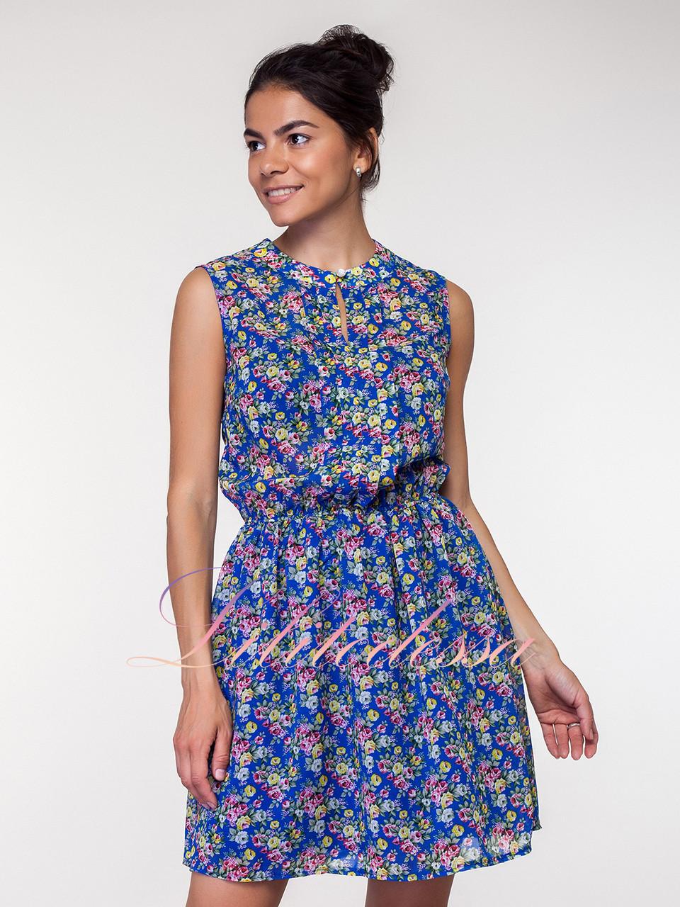 Летнее синее Платье цветочный принт