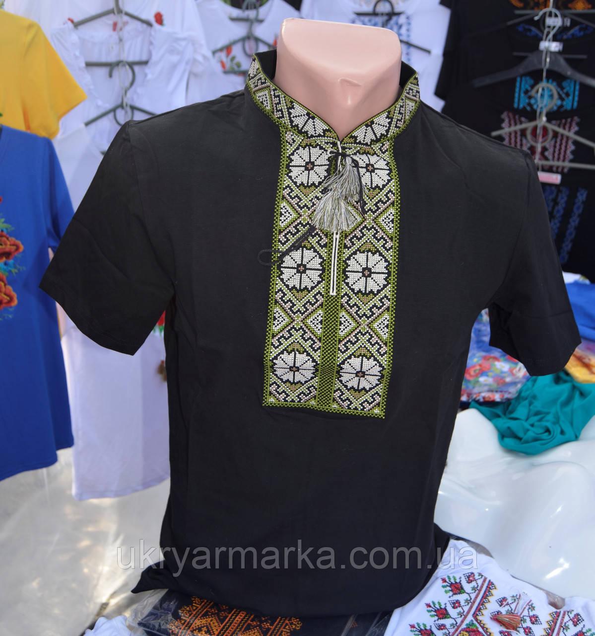 "Вишита футболка ""Ромашка"" зелена"
