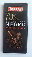 Шоколад без сахара Torras черный 70% какао Испания 80г