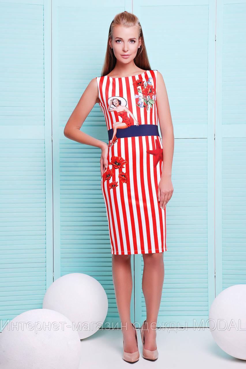 Платье в полоску красную фото