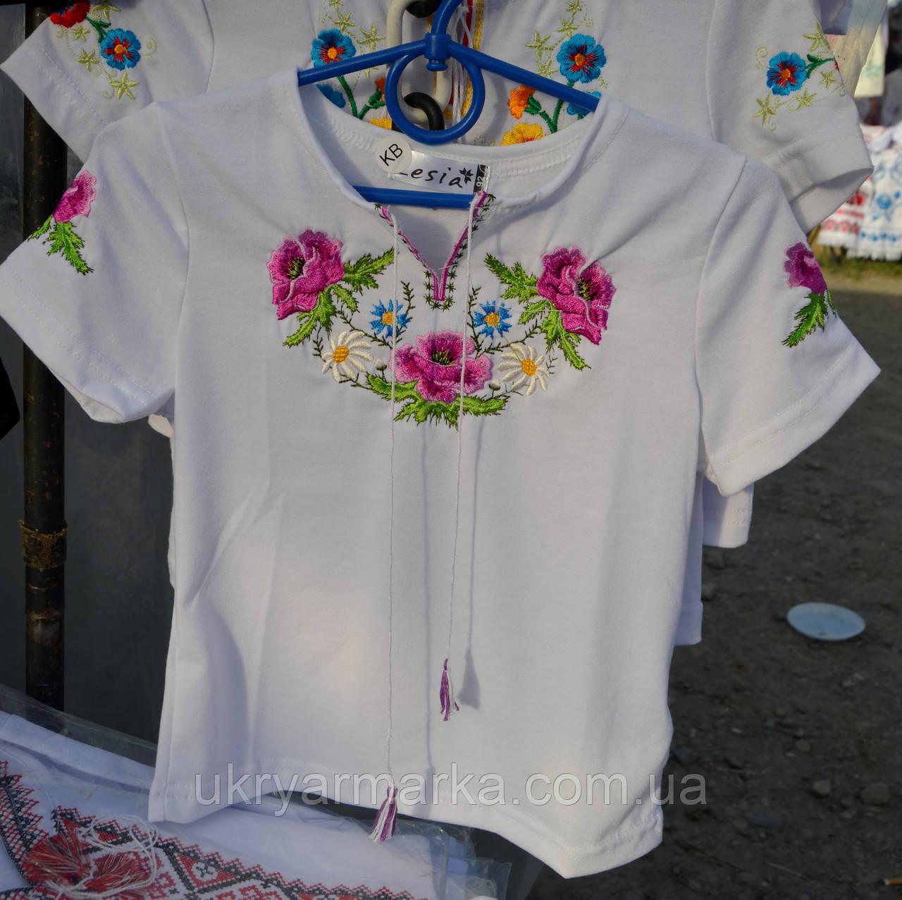 """Вишита футболка для дівчинки """"Маки"""" фіолет"""