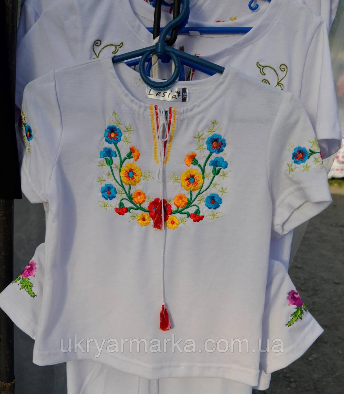 """Вишита футболка для дівчинки """"Квіткове асорті"""""""