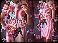 Модная женская туника с рисунком принт полоска / Украина / коттон