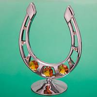 Подкова сувенир серебро с жёлтыми кристаллами 10 см