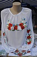 """Жіноча вишивана блузка """"Маків цвіт"""" біла"""