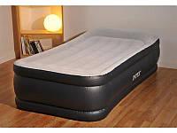Надувная флокированная кровать матрас 67732 Intex (99x191x48см) с насосом