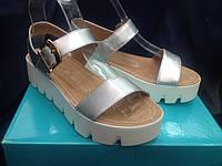 Босоножки женские кожа, босоножки на платформе серебро, 40 размер, распродажа