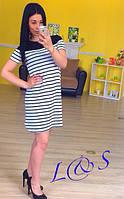 Трикотажное платье в полоску с коротким рукавом ЛЮ 016-n