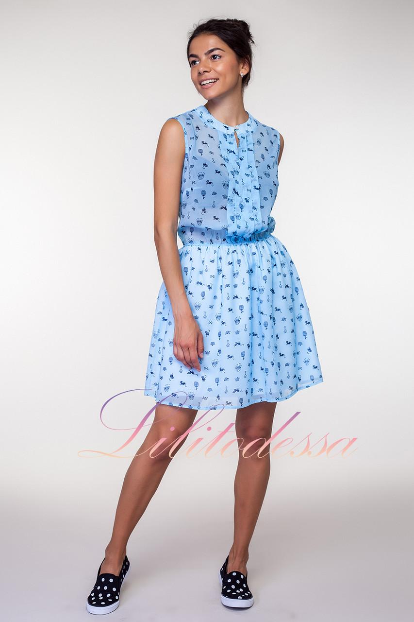 Летнее голубое Платье котики
