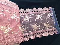 Кружево гипюр  стрейч широкое цвет нежно розовое люрикс  19,5 см N316