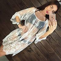 Пляжная туника женская.Ткань мягкий гипюр.Цвет: белый и чёрный, длина 83 см S, M, L.AB 1007
