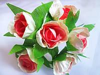 Бумажные цветы бело-коралл 3.5см уп./6 цветков