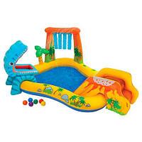 Игровой центр Динозавры с горкой Intex 57444, динозавры, горка, душ, фонтан, шарики 6шт, 249-191-109см