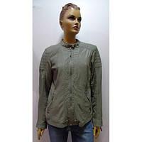 Кожаная женская куртка + вставки летнего джинса S.Oliver