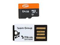 MicroSDXC 64GB UHS-I Team + USB-reader TR11A1 (TUSDX64GUHS29)