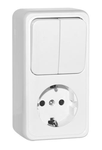 Блок SVEN Vesta SE-65351 розетка с заземлением + выключатель двойной накладного типа белый UAH