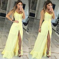 Платье сарафан Молодёжный макси натуральная батистовая прошва цвет жёлтый