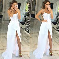 Платье сарафан Молодёжный макси натуральная батистовая прошва цвет белый