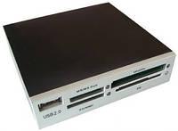 Кардридер внутренний Gembird FDI2-ALLIN1-S серебристый USB