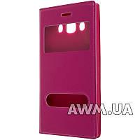 Чехол книжка с окошком для Samsung Galaxy J5 (J510) малиновый