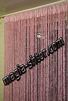 """Шторы нити """"лапша"""". Цвет розовый. Пришита тесьма, фото 1"""