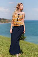 Платье-сарафан в пол на бретелях с полосатым верхом ат3712 (ГЛ)