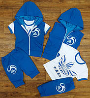 """Летний спортивный детский костюм-тройка """"Adidas"""" с бриджами, рост от 86 до 116 см"""