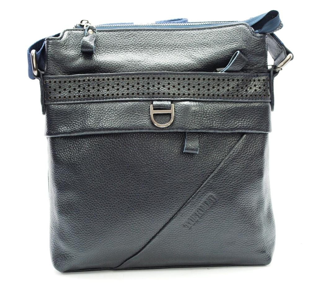 Мужская сумка из натуральной кожи с перфорацией синяя