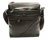 Мужская сумка из натуральной кожи с перфорацией коричневая