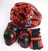 """Детская защита для мальчика """"СПАЙДЕРМАН"""", шлем + защита для локтей, колен и запястья"""