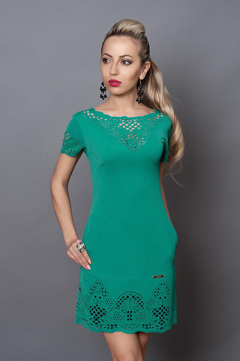 Платье женское модель №250-1, размер 46  бирюза