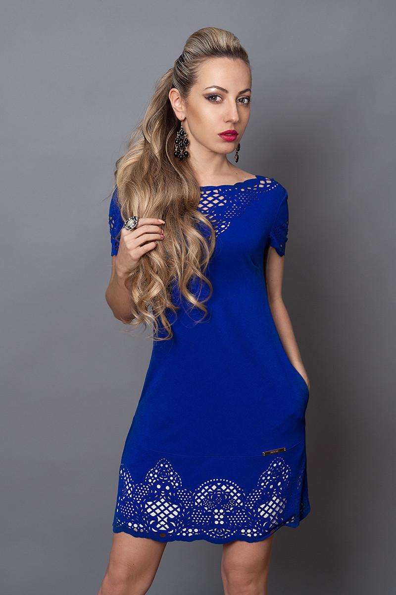 Платье женское модель №250-3, размер 44,46,,50 электрик