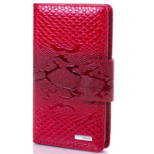 Женская стильная красная кожаная визитница KARYA (КАРИЯ) SHI008-1LAK