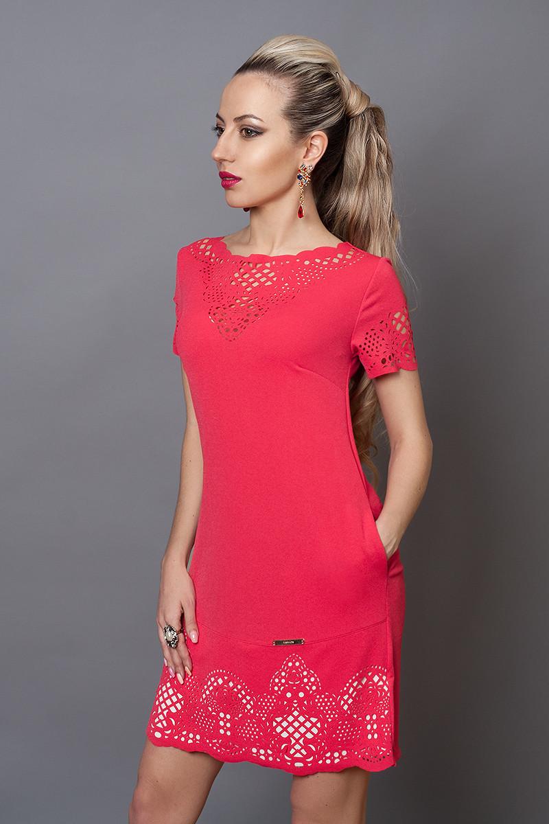 Платье женское модель №250-5, размер 44,46,48 красное с синим