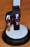 Серьги серебряные с золотыми напайками, фото 3