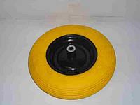 Колесо литое полиуретан 4,0х8 желтое в/d=16 НОВИНКА
