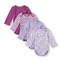 Боди с длинным рукавом для новорожденной девочки 0-3 мес. Поштучно The Children's Place (США)