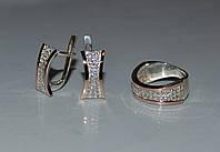 Набор серебряный с золотомыпи вставками