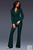 Женский костюм пиджак и брюки внизу клеш с пояском в комплекте , фото 1