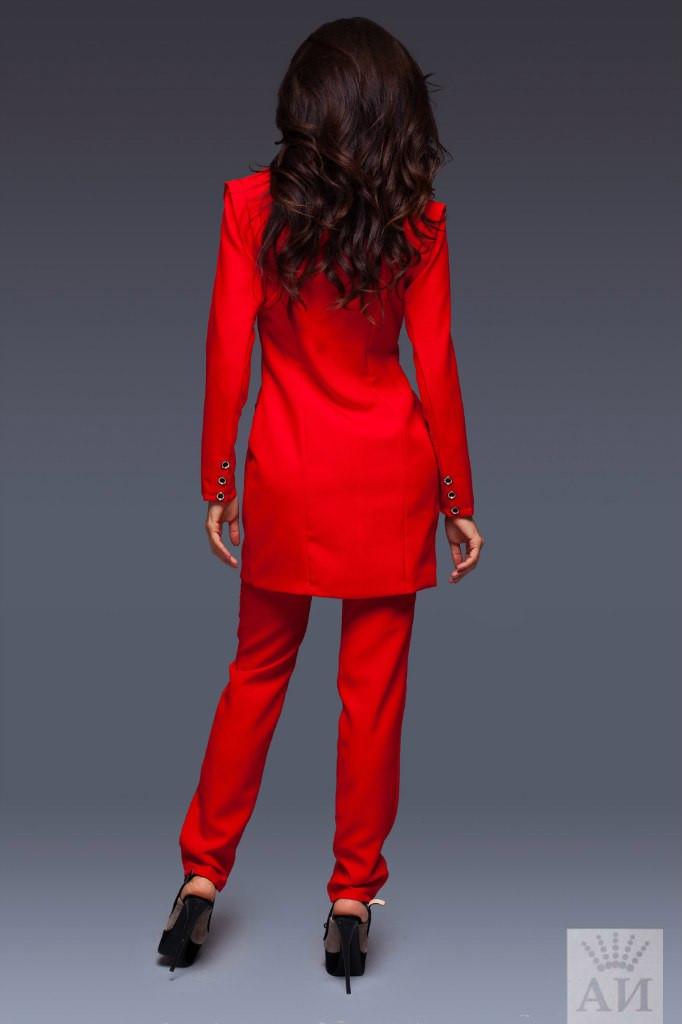 2cd58dfda61b Женский костюм с длинным пиджаком с отстегивающимися рукавами и брюками  внизу ...