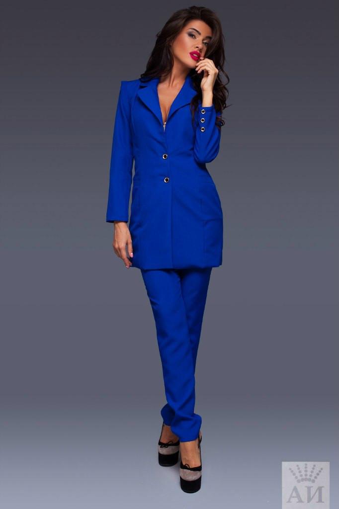 b2809abae61 ... Женский костюм с длинным пиджаком с отстегивающимися рукавами и брюками  внизу клеш