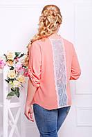 Нарядная шифоновая блуза со вставкой на спине из гипюрового кружева размеры 54 56 58 60 62