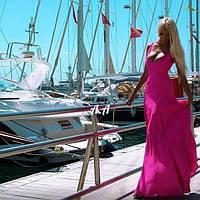Женское платье в пол из масла без рукавов