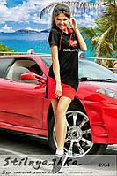 Спортивное женское платье Dsquared черное с красным