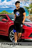 Спортивный мужской костюм BMW шорты с футболкой черный с индиго