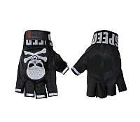 Велоперчатки текстильные Skull BC-4622 (открытые пальцы, р-р L, синий, черный, серый