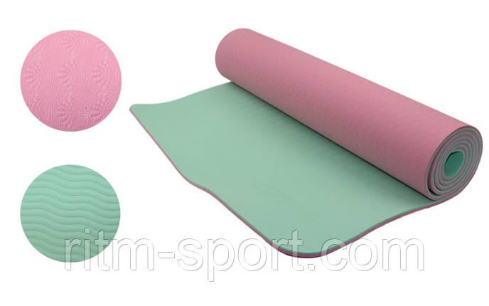 Коврик для йоги и фитнеса Yoga mat (двухслойный розовый-мятный), фото 2