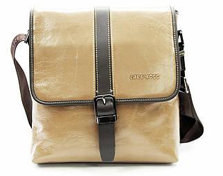 Эксклюзивная мужская сумка из гладкой кожи бежевая