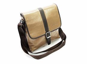 Эксклюзивная мужская сумка из гладкой кожи бежевая, фото 3